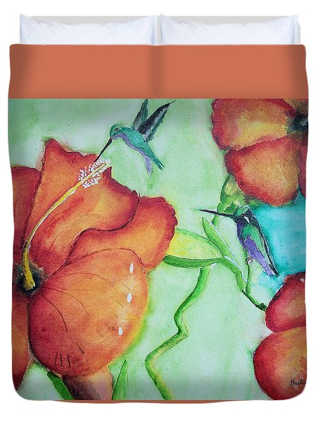 000002 Water Color Humming Birds Duvet Cover