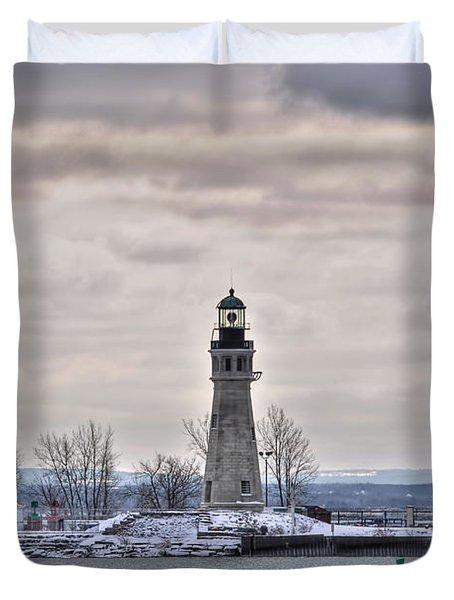 01 Winter Light House Duvet Cover by Michael Frank Jr
