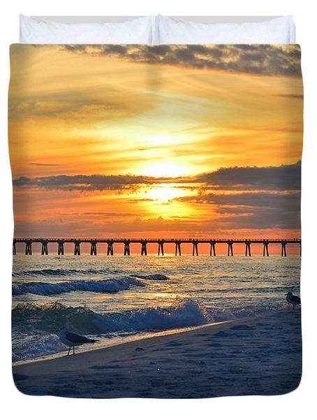0108 Sunset Colors Over Navarre Pier On Navarre Beach With Gulls Duvet Cover by Jeff at JSJ Photography