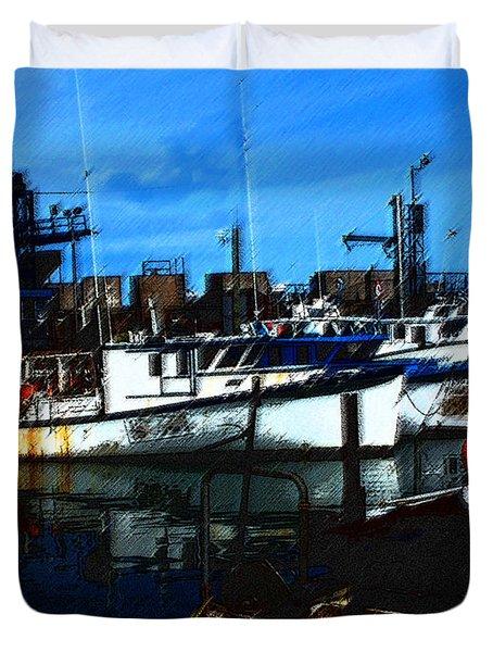 02132015 Novia Scotia Lobster Boat Duvet Cover by Garland Oldham