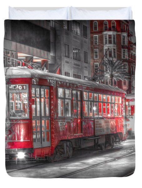 0271 Canal Street Trolley - New Orleans Duvet Cover by Steve Sturgill