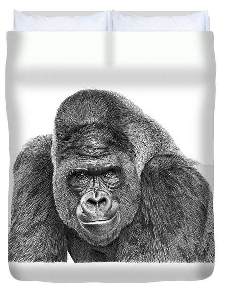 042 - Gomer The Silverback Gorilla Duvet Cover by Abbey Noelle