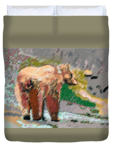 081914 Pastel Painting Grizzly Bear Duvet Cover