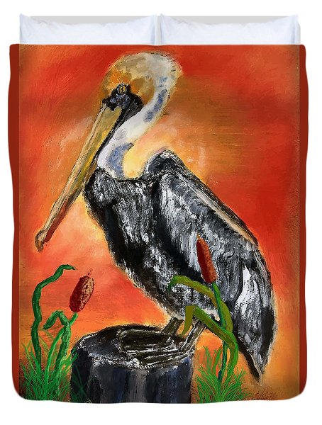 082914 Pelican Louisiana Pride Duvet Cover