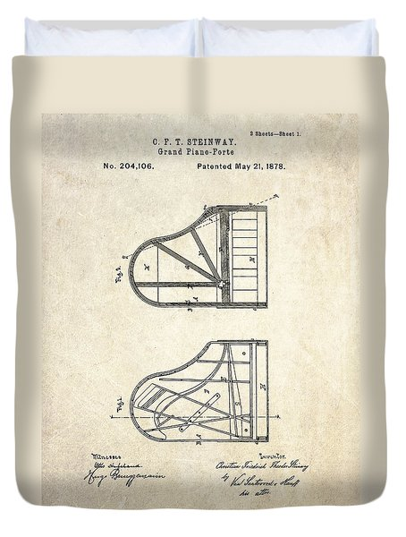 1878 Steinway Grand Piano Forte Patent Art S. 1 Duvet Cover