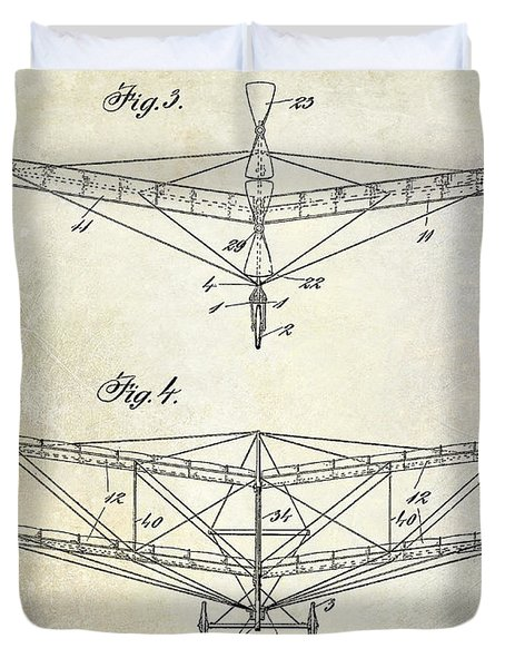 1909 Flying Machine Patent Drawing  Duvet Cover