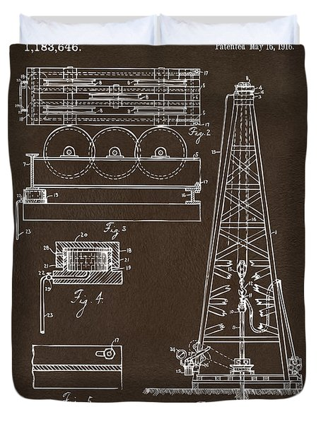 Duvet Cover featuring the drawing 1916 Oil Drilling Rig Patent Artwork - Blueprint by Nikki Marie Smith