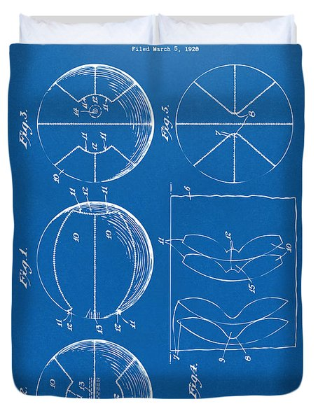 1929 Basketball Patent Artwork - Blueprint Duvet Cover by Nikki Marie Smith