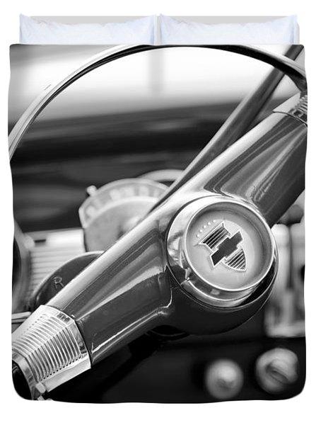 1951 Chevrolet Convertible Steering Wheel Duvet Cover by Jill Reger