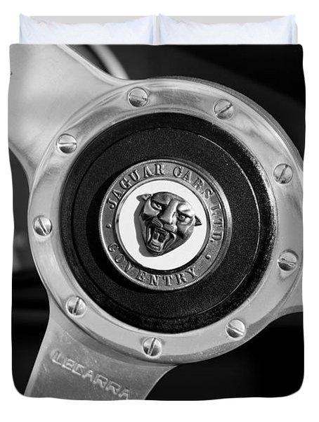 1951 Jaguar Steering Wheel Emblem Duvet Cover by Jill Reger