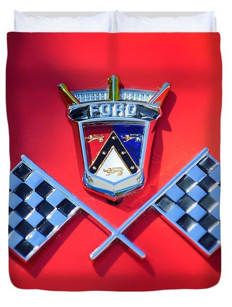 1955 Ford Thunderbird Emblem Duvet Cover by Jill Reger