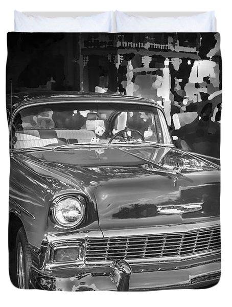 1956 Chevrolet Bel Air 210 Bw Duvet Cover