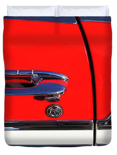 1956 Chevrolet Belair Convertible Custom V8 Door Handle Duvet Cover by Jill Reger