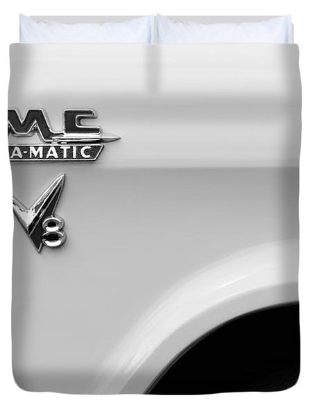 1956 Gmc 100 Deluxe Edition Pickup Truck Emblem Duvet Cover by Jill Reger