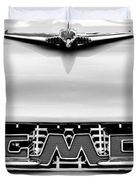 1956 Gmc 100 Deluxe Edition Pickup Truck Hood Ornament - Grille Emblem Duvet Cover by Jill Reger
