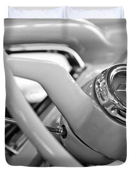 1957 Chevrolet Cameo Pickup Truck Steering Wheel Emblem Duvet Cover by Jill Reger