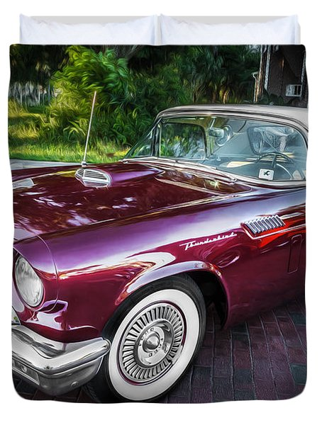 1957 Ford Thunderbird Convertible Painted    Duvet Cover
