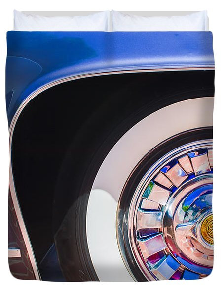 Duvet Cover featuring the photograph 1962 Ghia L6.5 Coupe Wheel Emblem by Jill Reger