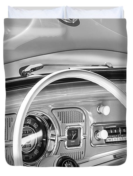 1962 Volkswagen Vw Beetle Cabriolet Steering Wheel Duvet Cover by Jill Reger