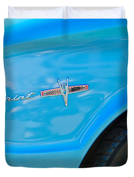 1963 Ford Falcon Sprint Side Emblem Duvet Cover by Jill Reger