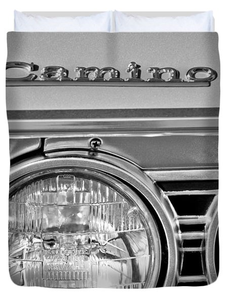 1967 Chevrolet El Camino Pickup Truck Headlight Emblem Duvet Cover by Jill Reger