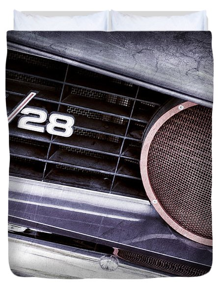1969 Chevrolet Camaro Z28 Grille Emblem Duvet Cover by Jill Reger