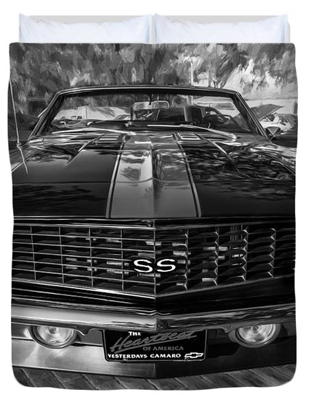 1969 Chevy Camaro Ss Painted Bw Duvet Cover