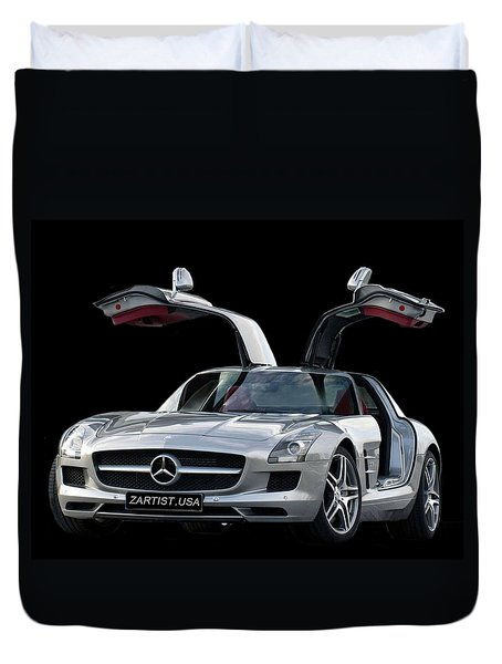 2010 Mercedes Benz Sls Gull-wing Duvet Cover by Jack Pumphrey