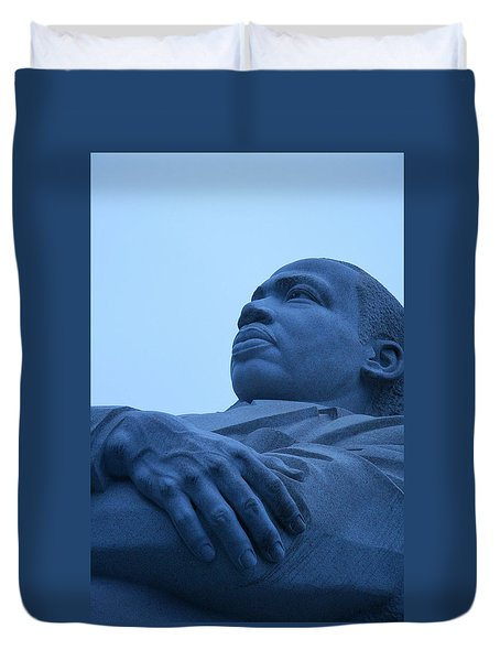 Duvet Cover featuring the photograph A Blue Martin Luther King - 1 by Cora Wandel