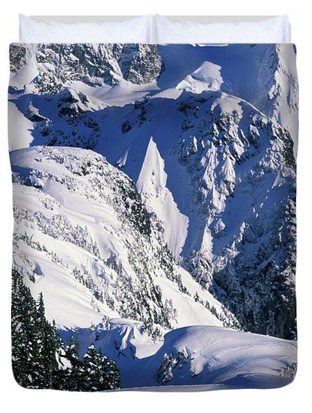 A Female Snowboarder Hiking Duvet Cover