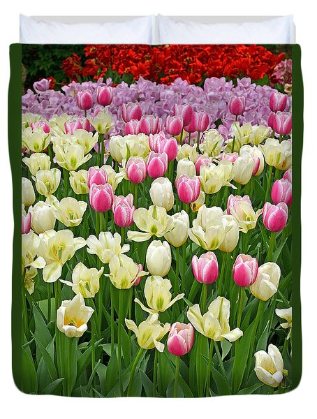 A Field Of Tulips Duvet Cover by Eva Kaufman