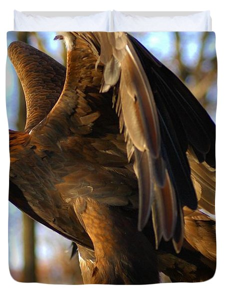 A Golden Eagle Duvet Cover by Raymond Salani III
