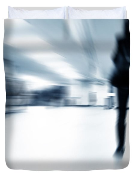 A Person Lost In The Rush Duvet Cover by Michal Bednarek