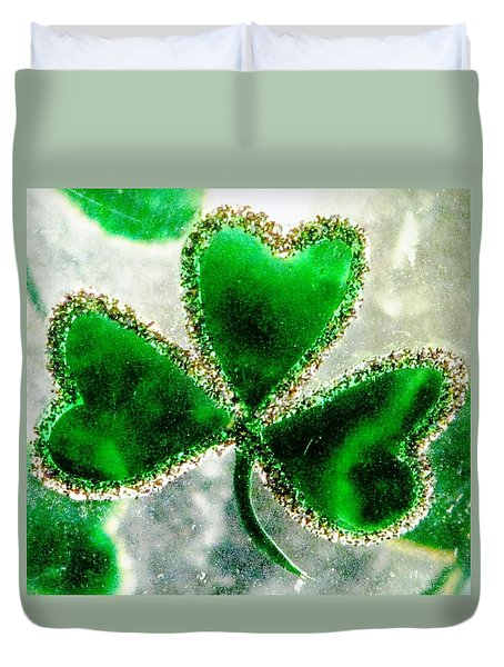 A Shamrock On Ice Duvet Cover by Angela Davies