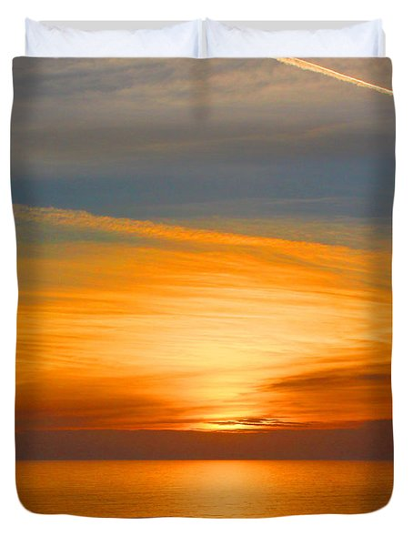 A Walk At Sunset Duvet Cover by Mariarosa Rockefeller