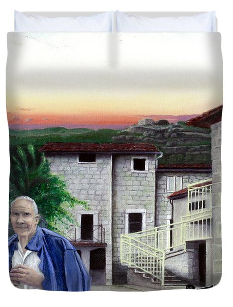 Duvet Cover featuring the painting A Walk With Dante by Albert Puskaric