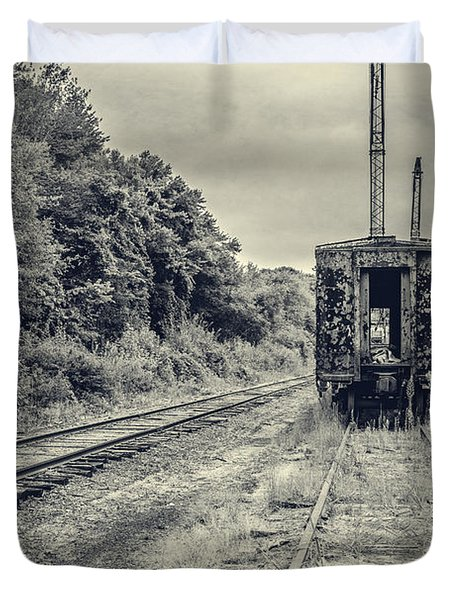 Abandoned Burnt Out Train Cars Duvet Cover