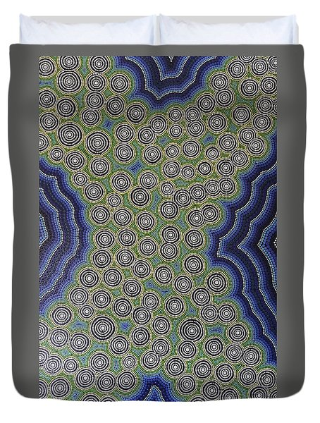Duvet Cover featuring the painting Aboriginal Inspirations 18 by Mariusz Czajkowski