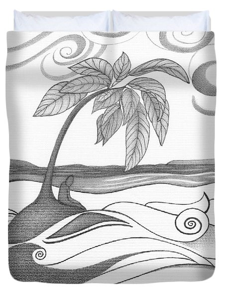 Abstract Art Tropical Black And White Drawing Who Am I To Disagree By Romi Duvet Cover by Megan Duncanson