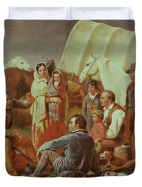 Advice On The Prairie  Duvet Cover by William Tylee Ranney