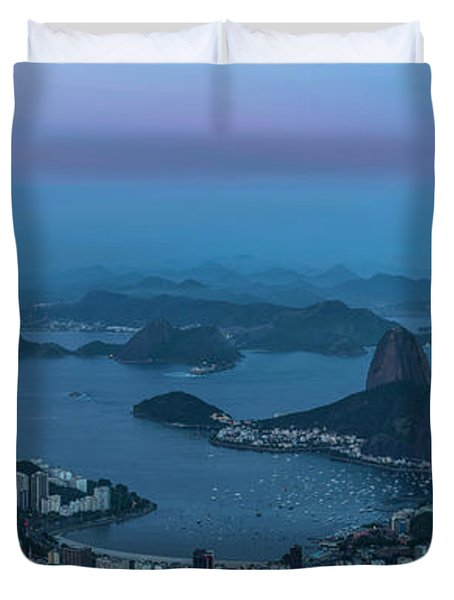 Aerial View Of City From Christ Duvet Cover
