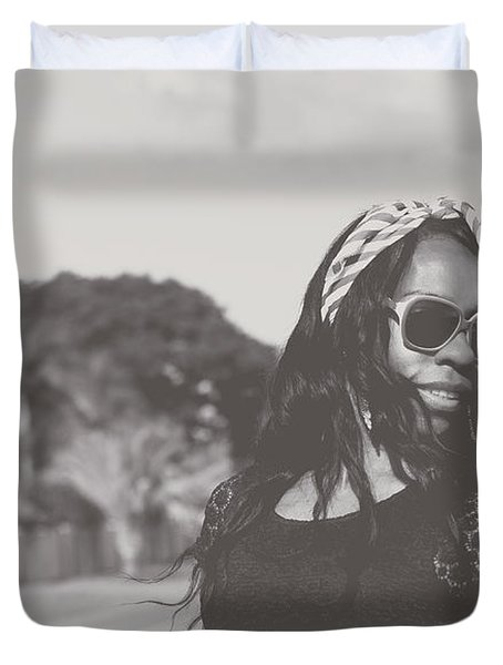 African American Woman With Highfashion Hairstyle Duvet Cover