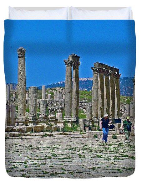 Agora In Greco-roman City Of Jerash In Jordan Duvet Cover