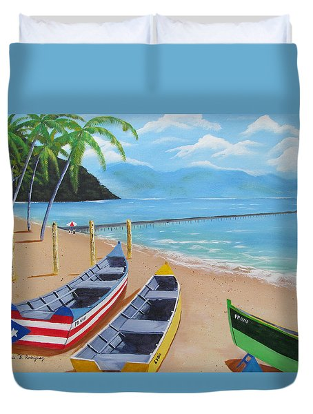 Aguadilla Crashboat Beach Duvet Cover by Luis F Rodriguez