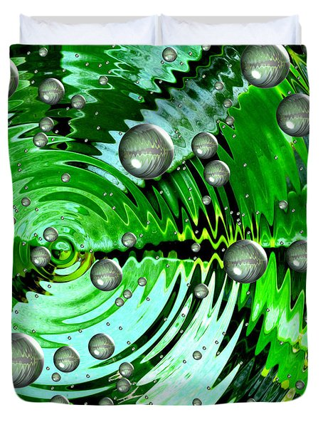 Amazing. Abstract Art. Green Grey  Blue Yellow  Duvet Cover