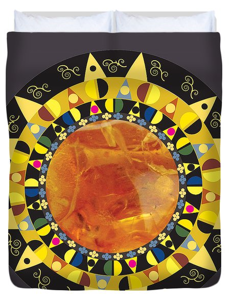Duvet Cover featuring the digital art Amber Mandala by Kim Prowse