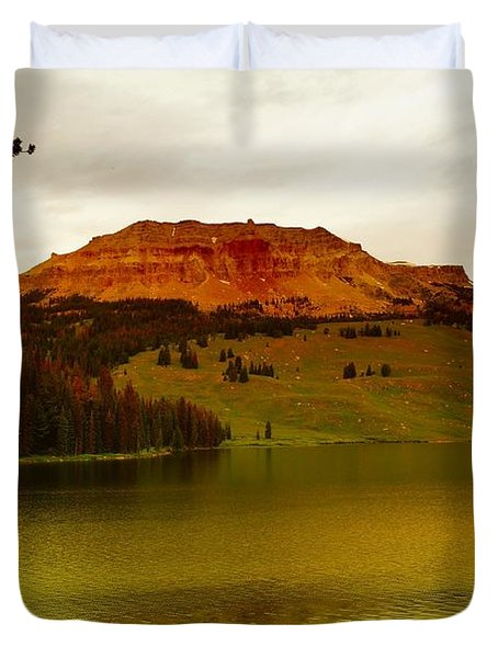 An Alpine Lake Duvet Cover by Jeff Swan