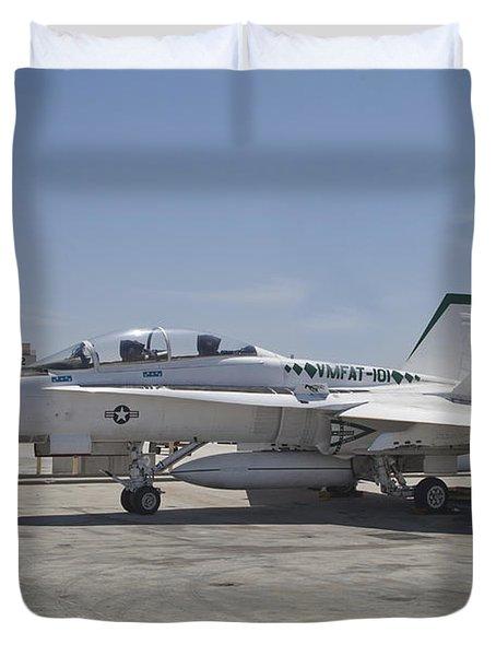 An Fa-18b Hornet In Centennial Markings Duvet Cover by Timm Ziegenthaler
