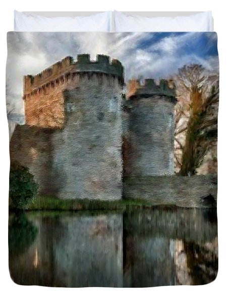 Ancient Whittington Castle In Shropshire England Duvet Cover