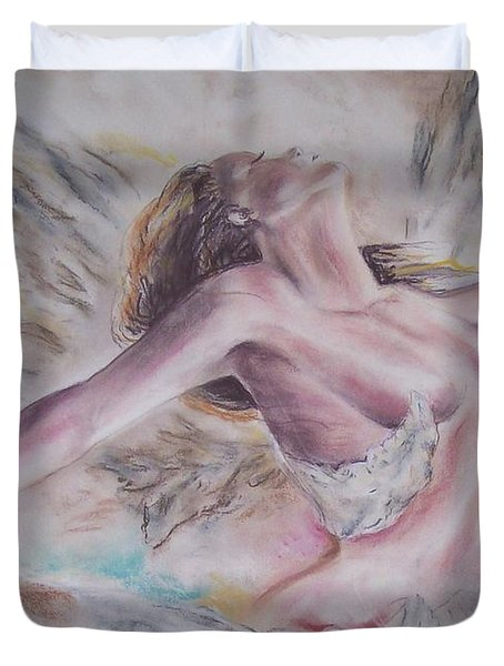 Duvet Cover featuring the pastel Angel Burst by Peter Suhocke